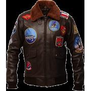 Mens Genuine Cowhide Brown Leather Bomber Jacket - Jacket - coats - 234.00€  ~ $272.45