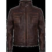 Men's Retro Brown Vintage Motorcycle Leather Jacket - Jacket - coats - 200.00€  ~ $232.86