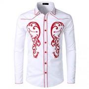 Men's Retro Leaf Embroidery Long Sleeve Button Down Western Shirt - Košulje - kratke - $26.99  ~ 23.18€