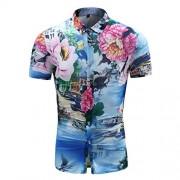 Mens Slim Fit Shirt Floral Printing Point Collar Short Sleeve Button Down Shirt - Košulje - kratke - $22.99  ~ 19.75€