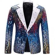 Men's Slim Fit Suit Jacket Casual One Button Shiny Sequin Party Wedding Blazer - Košulje - kratke - $62.99  ~ 54.10€