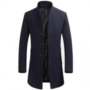 Mens Stylish Woolen Overcoat Slim Fit Mid Long Stand Collar Warm Trench Coat - Outerwear - $59.99  ~ 51.52€