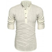 Mens Thin Henley Button-down Slim Fit Rollup Sleeve Shirt - Shirts - $15.26