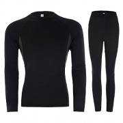 Men's Warm Long Thermal Underwear Set T-Shirt Pants with Fleece PJ0062 - Ropa interior - $24.99  ~ 21.46€