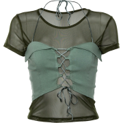 Mesh perspective bottoming shirt T-shirt - Tシャツ - $19.99  ~ ¥2,250