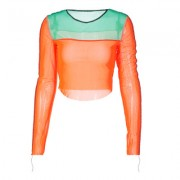 Mesh stitching contrast color long-sleeved T-shirt - Shirts - $19.99