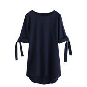 Milumia Women's 3 4 Sleeves Rolled up Sleeve Chiffon Summer Tunic Tops - Shirts - $16.99