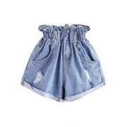 Milumia Women's Casual High Waisted Hemming Denim Jean Shorts with Pockets - Shorts - $15.99