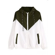 Milumia Women's Color Block Drawstring Hooded Zip up Sports Jacket Windproof Windbreaker - Outerwear - $19.99