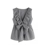 Milumia Women's Deep V Neck Sleeveless Bowknot Plaid Blouse Shell Top - Shirts - $18.99