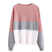 Milumia Women's Drop Shoulder Color Block Textured Jumper Casual Sweater - Pullovers - $21.99