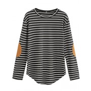 Milumia Women's Elbow Patch Striped High Low Top T-Shirt - Shirts - $10.99