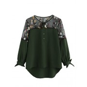 Milumia Women's Floral Embroidered Lace Panel Tie Cuff High Low Blouse Top - Shirts - $15.99