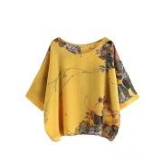 Milumia Women's Florals Batwing Sleeve Button Back Chiffon Blouse - Shirts - $13.99