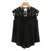 Milumia Women's Keyhole Back Daisy Lace Shoulder Shell Top - Shirts - $13.99
