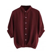 Milumia Women's Lantern Sleeve Pleated Detail Button Down Blouse Shirt - Shirts - $12.99