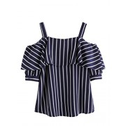 Milumia Women's Spaghetti Strap Cold Shoulder Layered Striped Short Sleeve Blouse Shirt Top - Shirts - $18.99