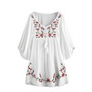 Milumia Women's Tasseled Tie Neck Lantern Sleeve Embroidered Smock Cute Mini Dress - Dresses - $22.99