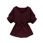 Milumia Women's V Neckline Self Tie Short Sleeve Blouse Tops - Shirts - $10.99