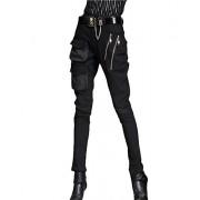 Minibee Pernalized Punk Street Style Harem Pants Patchwork Zipper Pockets - Pants - $89.00