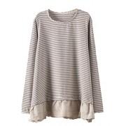 Minibee Women's A-line Lace Trim Cotton Striped Pullover Tunics Round Neck Blouse Shirt - Shirts - $50.00