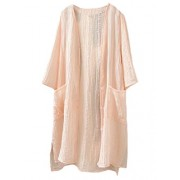 Minibee Women's Button Down Cardigan Casual Coverup Blouse Tops with Pockets - Shirts - $39.99