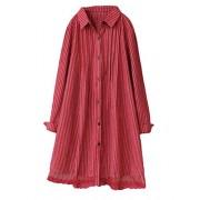 Minibee Women's Button Down Shirts Striped Blouse Tops Long Sleeve Lace Trim Dresses Fit US XS-L - Tunic - $24.99