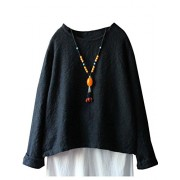 Minibee Women's Casual Long Sleeve Blouse Solid Color Tunic Shirt Fit US 0-16 - Shirts - $45.00