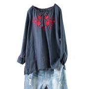 Minibee Women's Floral Embroidery Linen Tops Hi Low Shirt Tunic Blouses Fit US 0-12 - Shirts - $29.99