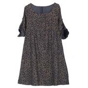 Minibee Women's Linen Cotton Short Dress Roll-up Sleeve Blouse Tops - Dresses - $29.00