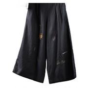 Minibee Women's Linen Cropped Pants Half Elastic Waist Straight Trousers - Pants - $24.99