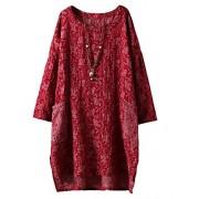 Minibee Women's Long Sleeve Hi-Low Pullover Jacquard Ethnic Style Tunic Tops - Shirts - $35.00