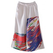 Minibee Women's New Color Printing Wide Leg Crop Pants With pockets - Pants - $27.00