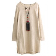 Minibee Women's Solid Jacquard Blouse Dress With Pockets - Shirts - $52.00