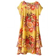 Minibee Women's Summer Floral Print Double Layer Short Sleeve Shirt Dress Swing Tunic Fit US 0-12 - Dresses - $59.99