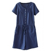 Minibee Women's Summer Short Rompers Casual Pleated Drawstring Waist One Piece Jumpsuit - Dresses - $29.99
