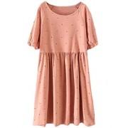 7e3789d07b1d42 Minibee Women s Summer Short Sleeve Ruffle Polka Dot Dress Loose Swing Tunic  - Dresses -