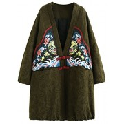 Minibee Women's V-neck Ethnic Jacket Jacquard Print Frog Button Thick Outwear Coat - Outerwear - $85.00
