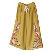 Minibee Women's Wide Leg Pants Elastic Waist Floral Embroidery Drawstring Capri Trousers Fit US 0-12 - Pants - $34.97