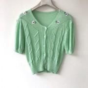 Mint green twist flowers sweet short short-sleeved summer cool top - Košulje - kratke - $21.99  ~ 139,69kn