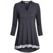 Miusey Women's Casual Henley V Neck 3/4 Sleeve Tunic Tops Vintage Lace Hem Shirt - Shirts - $49.99