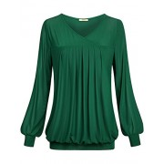 Miusey Womens Casual Long Sleeve Cross V Neck Pleated Front Mesh Blouse Tunic - Shirts - $45.99