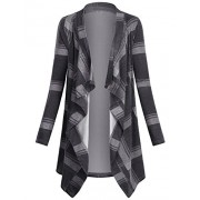 Miusey Women's Casual Plaid Print Sweater Long Sleeve Drape Open Front Knit Cardigan - Shirts - $49.99