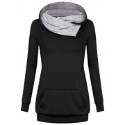 Miusey Women's Cowl Neck Casual Long Sleeve Hoodie Pullover Sweatshirt with Kangaroo Pocket - Shirts - $39.99