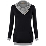 Miusey Women's Cowl Neck Long Sleeve Pullover Sweatshirt With Kangaroo Pocket - Shirts - $49.90