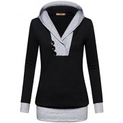 Miusey Womens Long Sleeve Color Block Lightweight Pullover Sweatshirt Hoodies - Shirts - $59.99