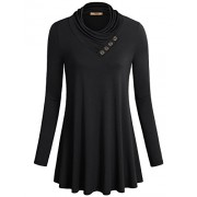 Miusey Women's Long Sleeve Cowl Neck Form Fitting Casual Tunic Top Blouse - Shirts - $21.99