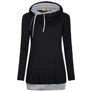 Miusey Womens Long Sleeve Double Hooded Sweatshirt Casual Side Zipper Pullover Hoodie - Shirts - $27.00