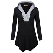 Miusey Womens Long Sleeve V Neck Asymmetric Tunic Hoodie with Kangaroo Pocket - Shirts - $49.99