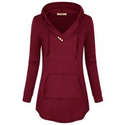 Miusey Women's Long Sleeve V Neck Pleated Pullover Sweatshirts Tunic Hoodies - Shirts - $29.99